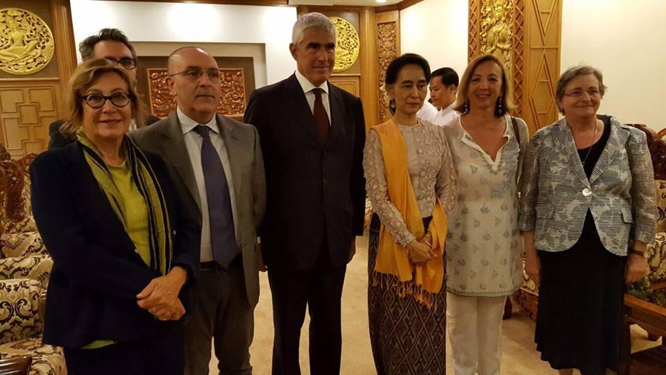 petrocelli in malesia - Delegazione parlamentare italiana in visita in Myanmar, col Presidente premio Nobel per la pace, Aung Sa