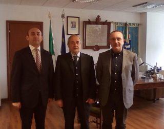 l'ambasciatore azero Mammad Bahaddin Ahmadzada con sindaco di Matera e Petrocelli -fonte sassilive