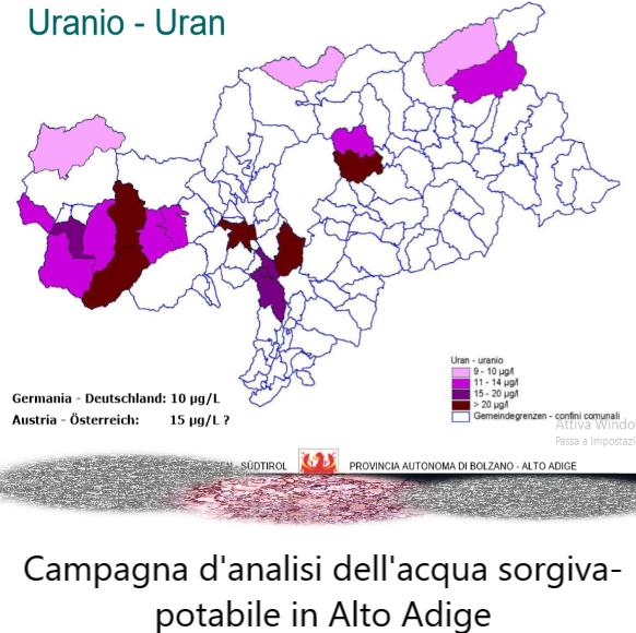 locandina analisi uranio acqua bolzano aggiornata